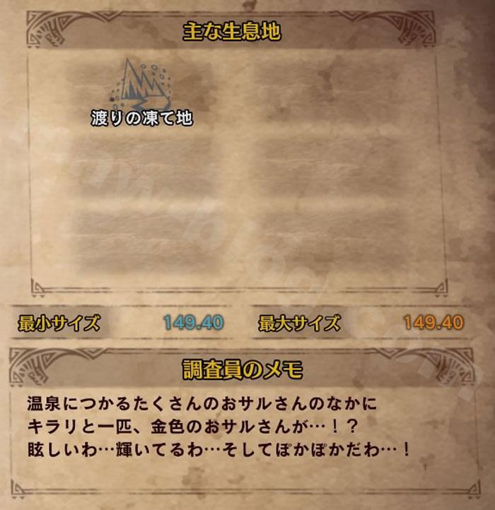 「キンセンザル」の図鑑情報