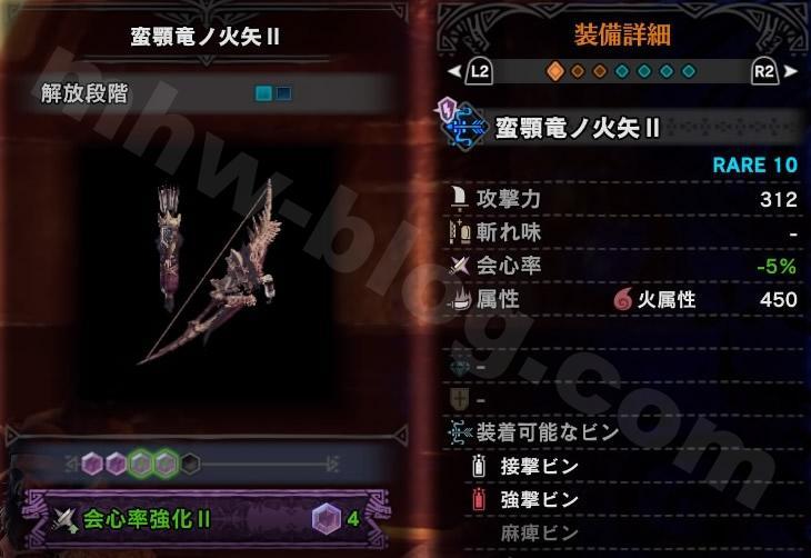 「蛮顎竜ノ火矢Ⅱ」カスタム強化スロット数と強化例①