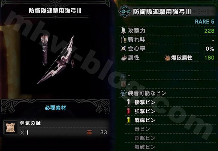「防衛隊迎撃用強弓Ⅲ」の強化素材