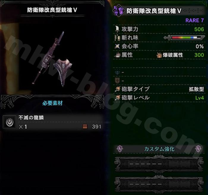 ガンス「防衛隊改良型銃槍Ⅴ」の性能