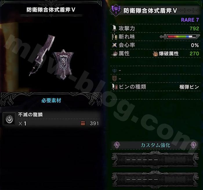 チャアク「防衛隊合体式盾斧Ⅴ」の性能
