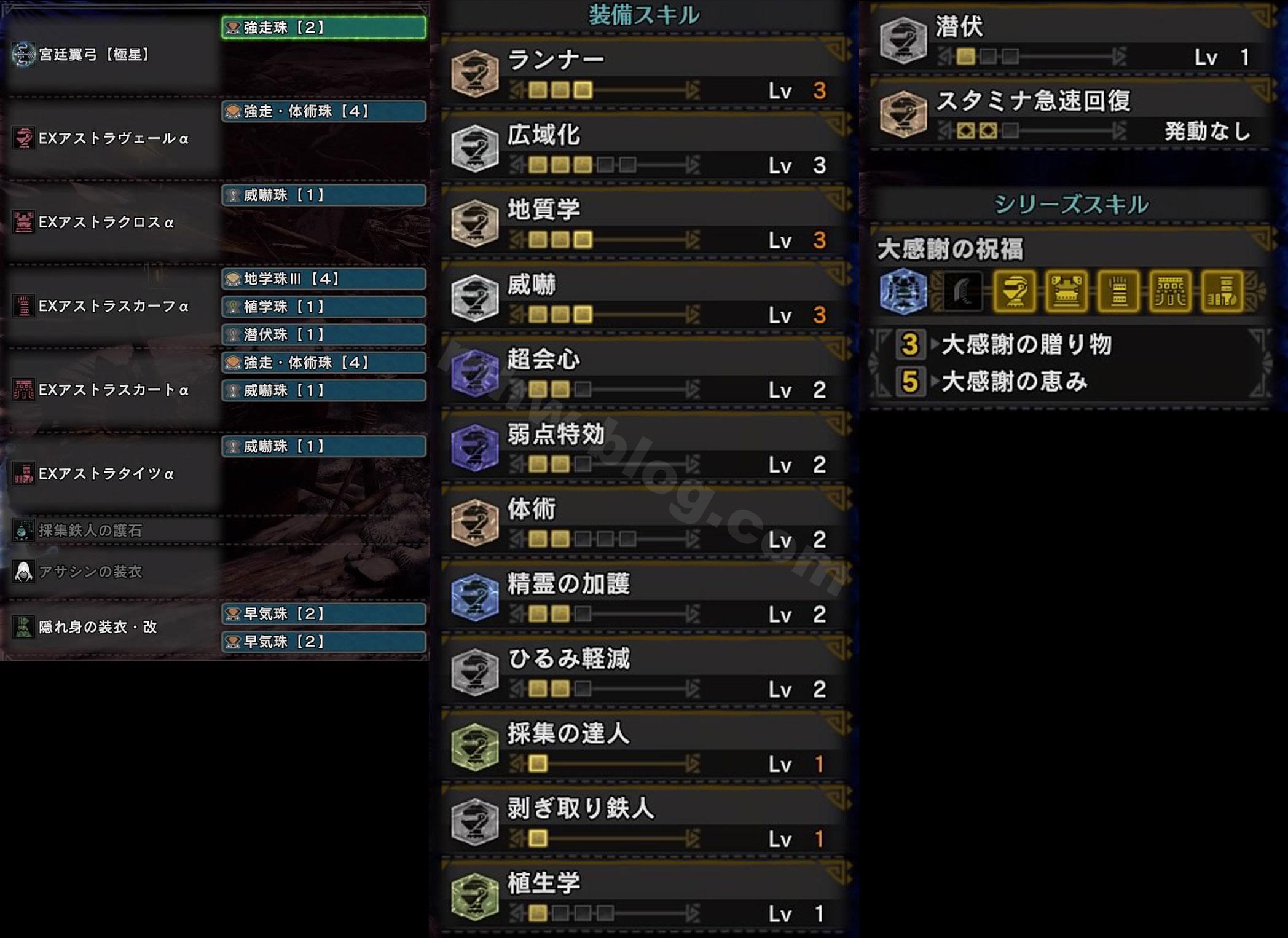 「EXアストラα」一式装備とスキル