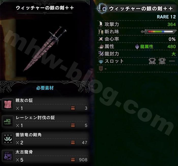 片手剣「ウィッチャー銀の剣++」の性能