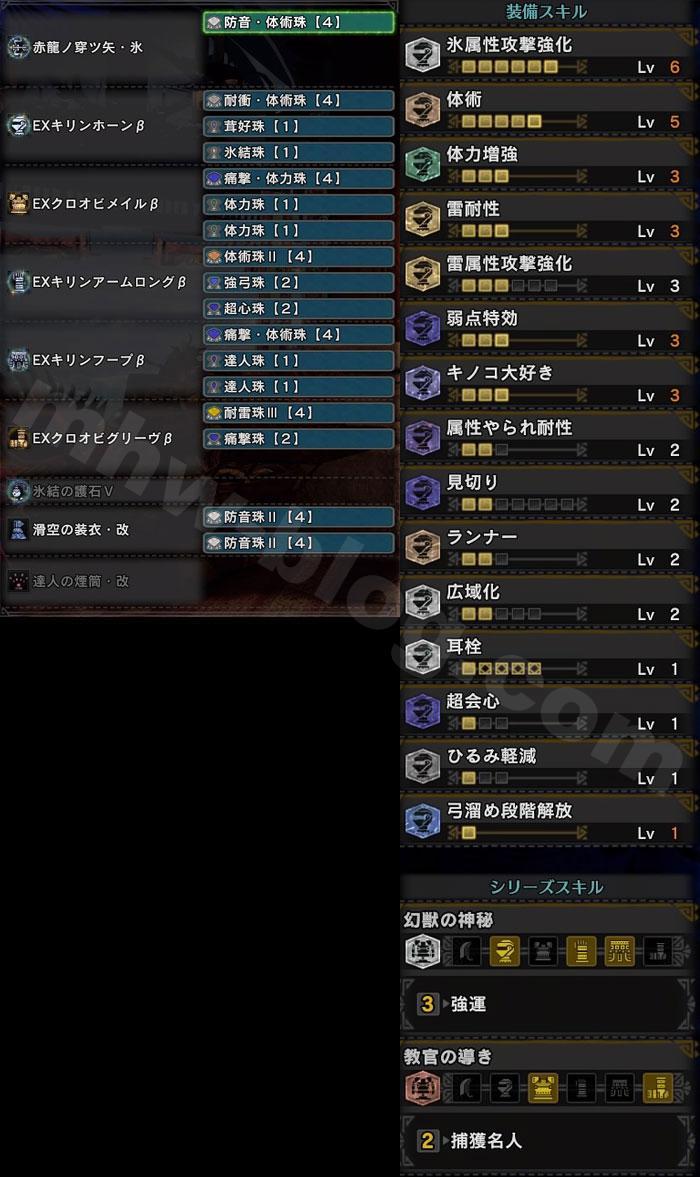 「捕獲名人+強運」の報酬量アップ弓装備セット①