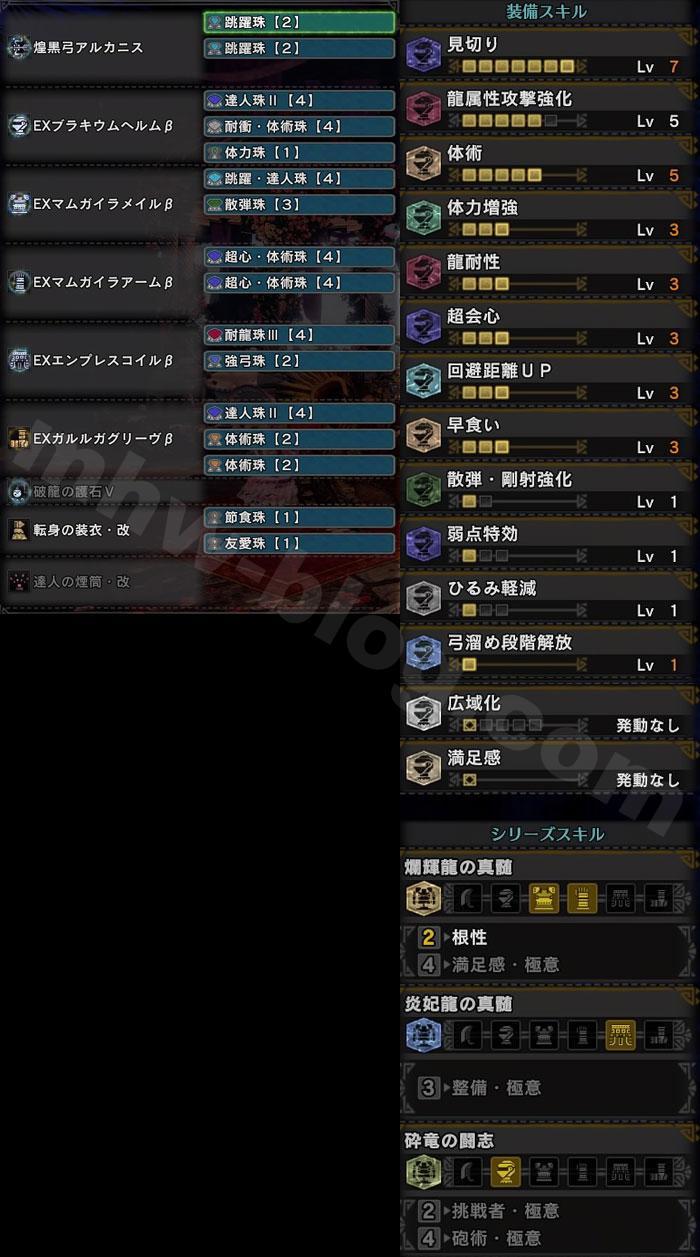 特別任務「暁の凱還」初戦用弓装備:「爛輝龍の真髄(根性)」付装備セット