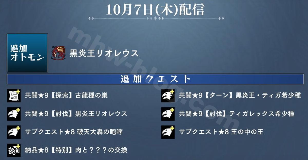 モンハンストーリーズ2(Ver1.4.1):「10月7日(木)」の予定